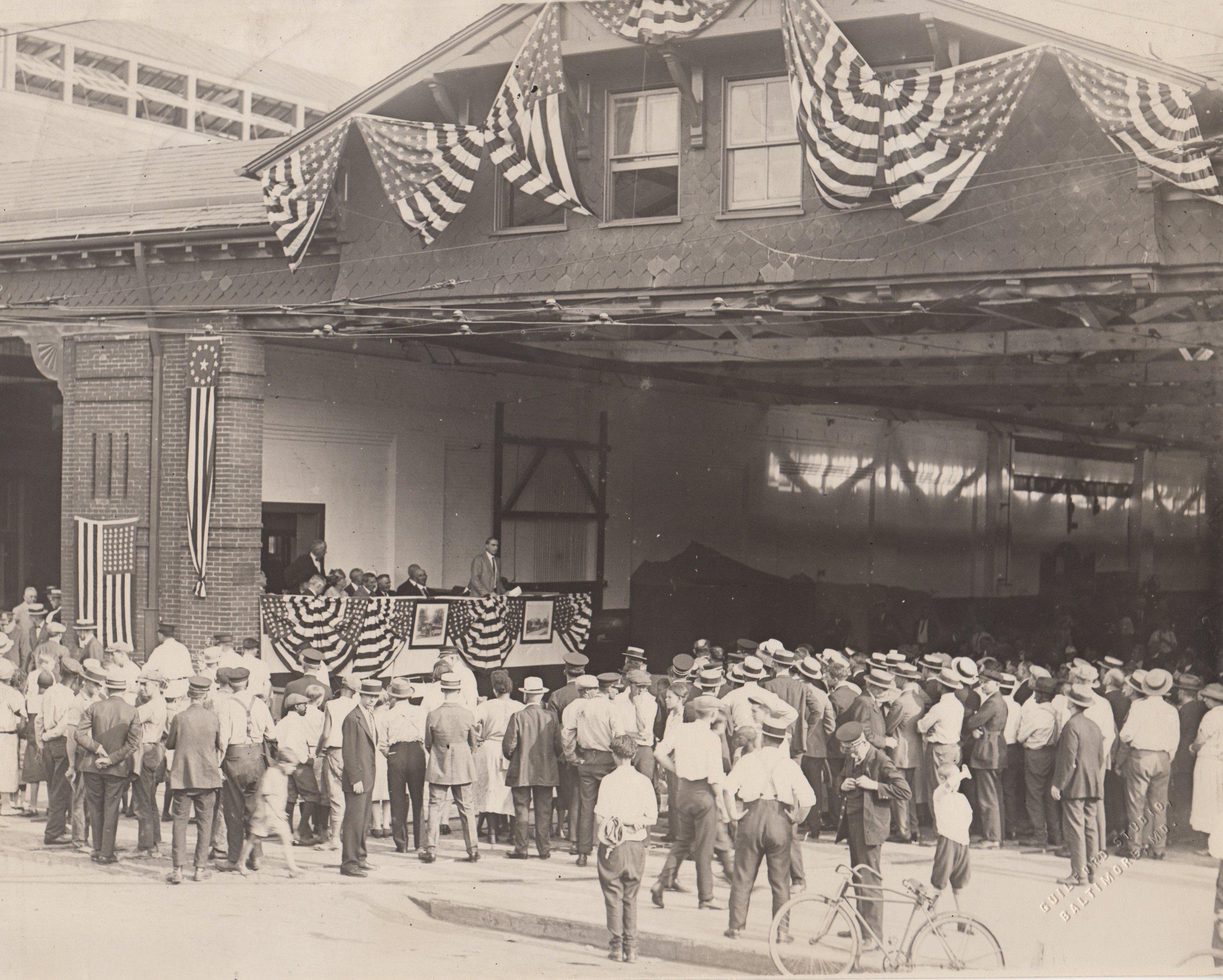Image Credit: BSM Archive, Howard St Car House when it was Oak St Car House, 1925