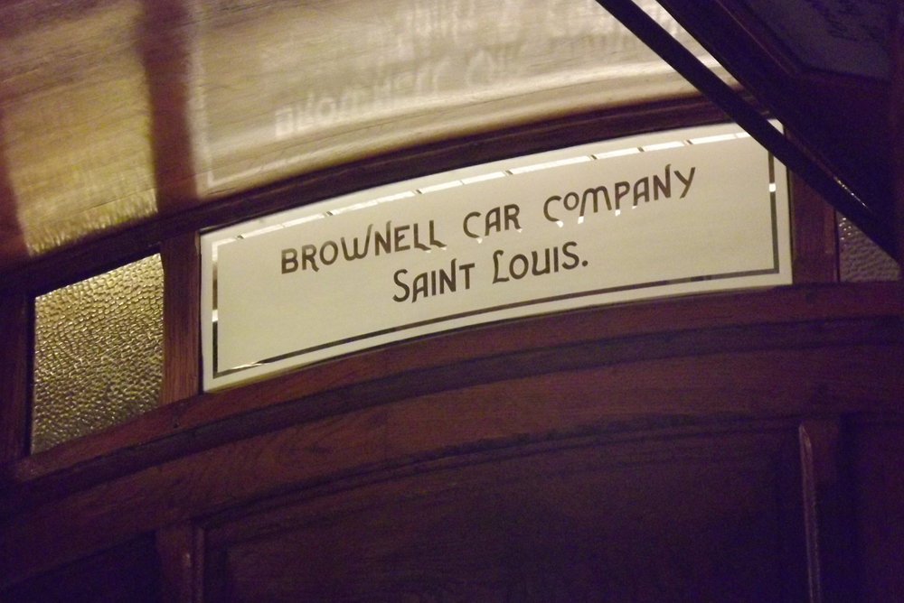 14. A new etched window, installed in the middle of the monitor end, now identifies the car's builder: Brownell Car Company of St. Louis.