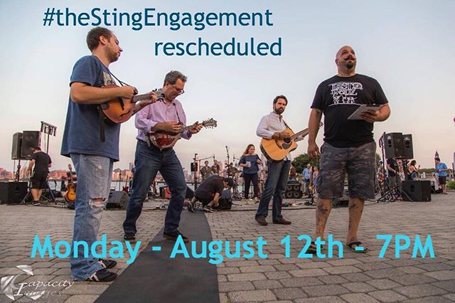 Due to weather, together with @hobokennj, we have decided to postpone #theStingEngagement until Monday August 12th at 7p. You'll still find us at Frank Sinatra Park and this event is still FREE!  If you need a  local music fix until then please check out our 3 Days of Peace✌️and Music🎶, our tribute to the 50th anniversary of #Woodstock taking place July 31 - Aug 2. Info available on our website (link in profile), $25 gets you entry to multiple venues and acts over several days. 📷 by @capacityimages  #aleomusic #aleoproductions #hobokenmusicscene #jerseycitymusicscene #localmusic