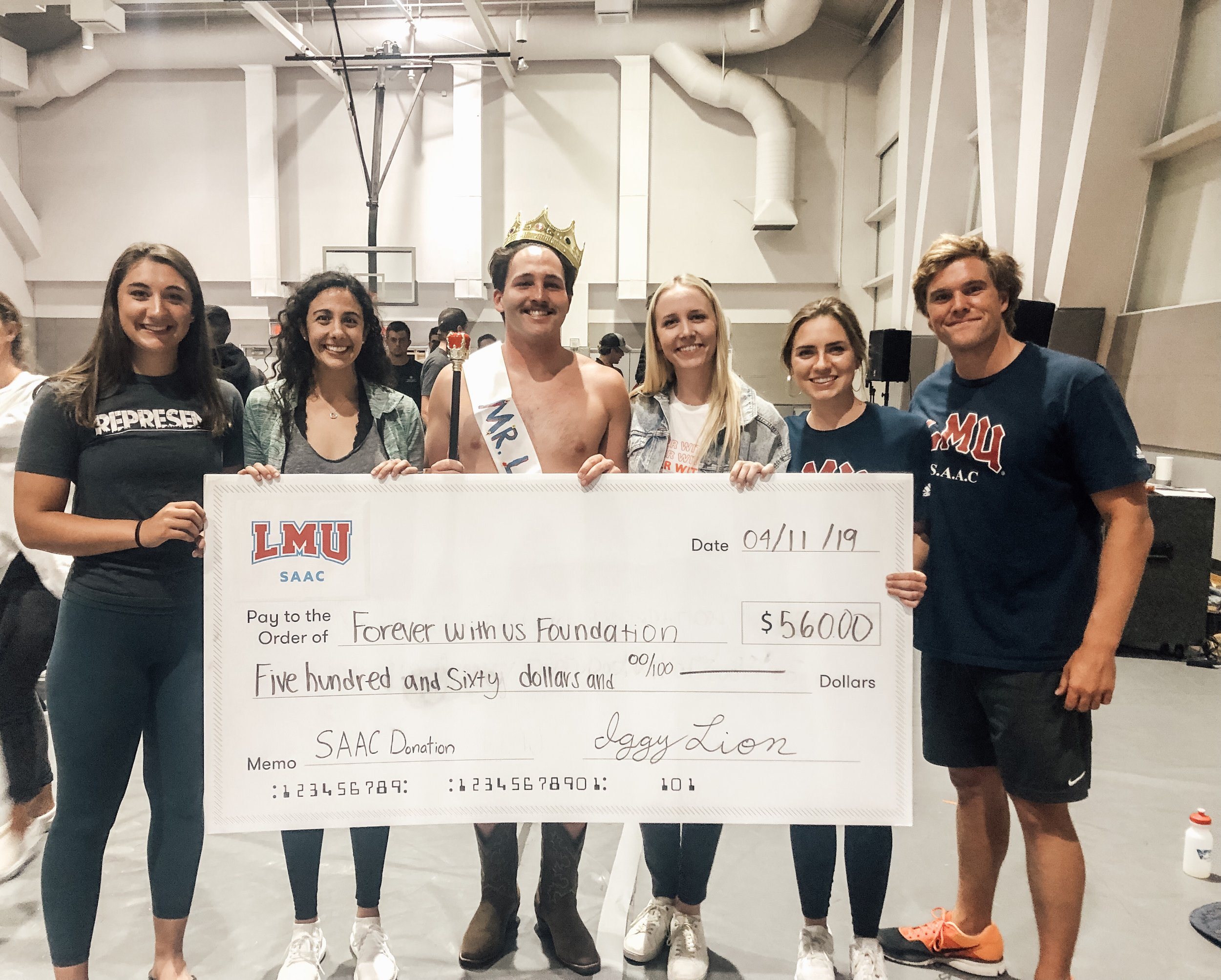 LMU SAAC - 04/11/19LMU chose Forever With Us as the non-profit for their annual talent show event. Every sport competed for the grand prize of Mr. LMU! This event raised $600!