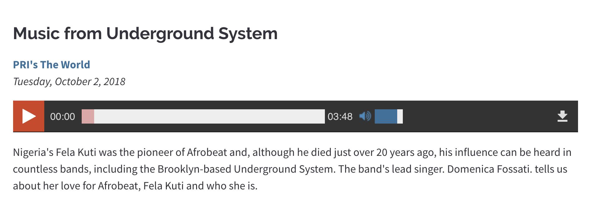 Underground System on NPR / PRI
