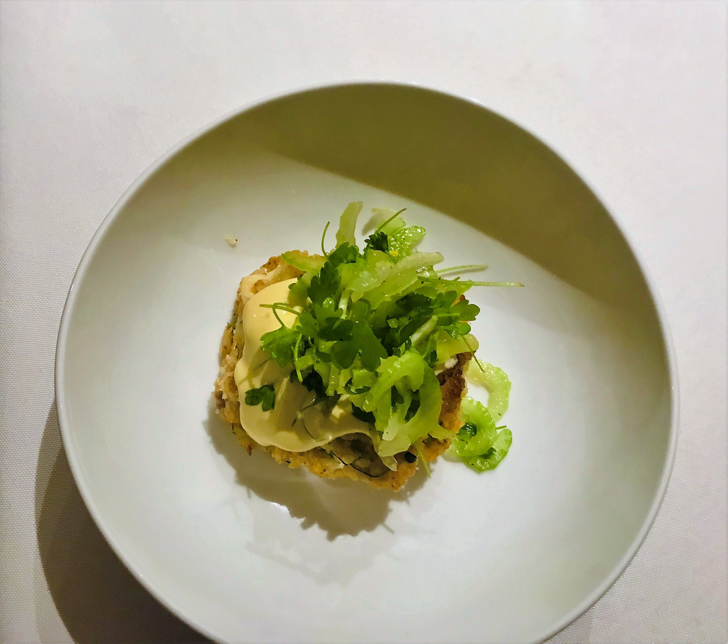 cod cake, saffron aioli, celery salad, lemon vinaigrette.JPG