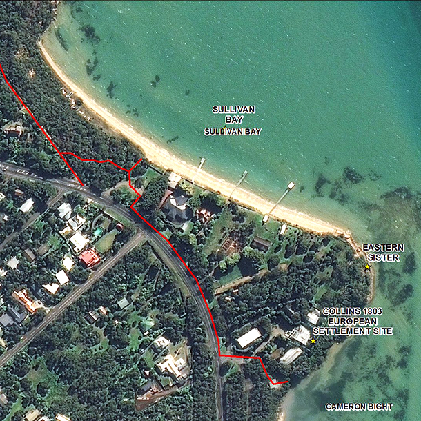 The proposed coastal walking path around the base of the Eastern Sister headland cliff face.