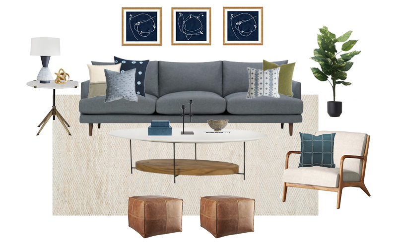 Lamp  |  Gold Decorative Piece  |  Side Table  |  Sofa  |  Cushion 1  |  Cushion 2  |  Cushion 3  |  Cushion 4  |  Cushion 5  |  Art Piece 1  (repeated again as the third piece) |  Art Piece 2  |  Coffee Table  |  Candle Holder  |  Decorative Bowl  |  Storage Boxes  |  Armchair  |  Armchair Cushion  |  Pouf  |  Rug