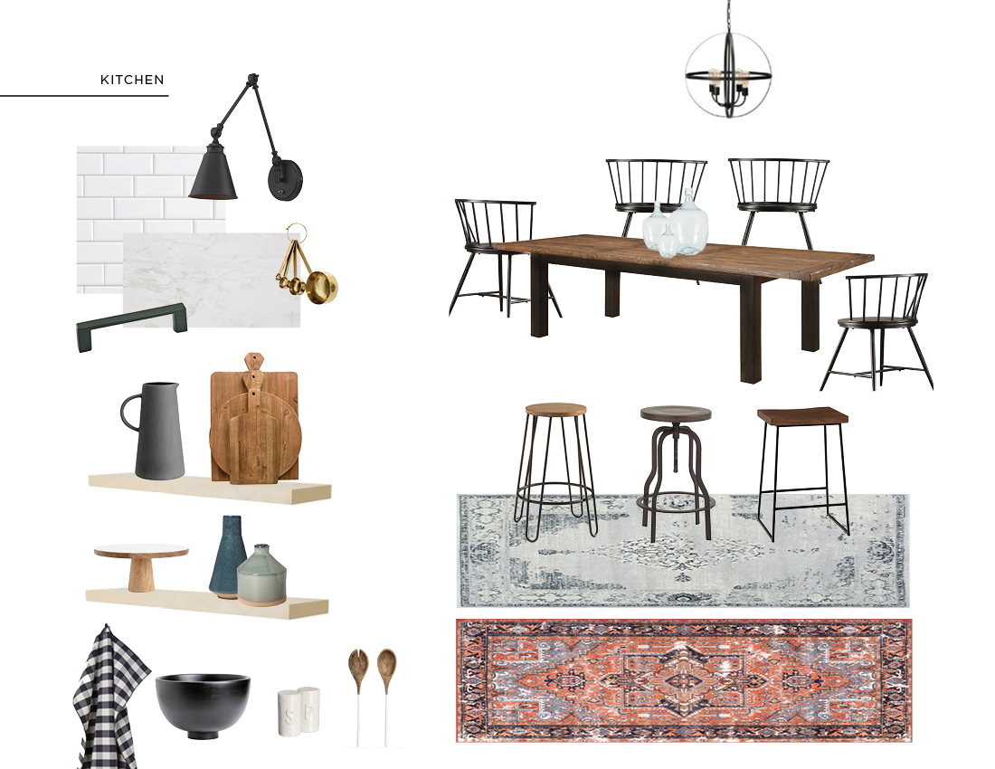 Sources:   Sconce     Gold Measuring Cups     Stoneware Pitcher     Cutting Board Set     Cake Stand     Vase 1     Vase 2     Tea Towel     Large Black Wooden Bowl     Salt & Pepper Shakers     Wooden Salad Servers     Dining Chairs    Dining Table was photoshopped to be like clients own - sorry, no link!    Glass Jar     Bar Stool 1     Bar Stool 2     Bar Stool 3     Grey Runner     Red Runner