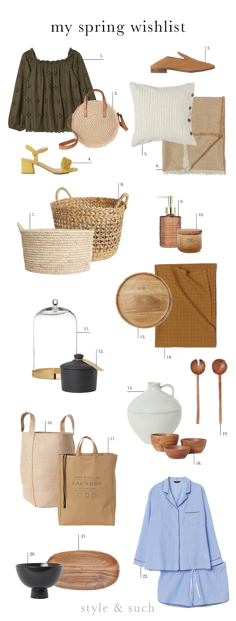 "1.  Off the Shoulder Top  | 2.  Round Paper Straw Bag  | 3.  Suede Loafers  | 4.  Sandals with Fringe  | 5.  Washed Linen Cushion Cover  | 6.  Linen Blend Blanket  | 7.  Storage Basket  | 8.  Braided Storage Basket  | 9.  Glass Soap Dispenser  | 10.  Small Glass ""Things"" Jar  