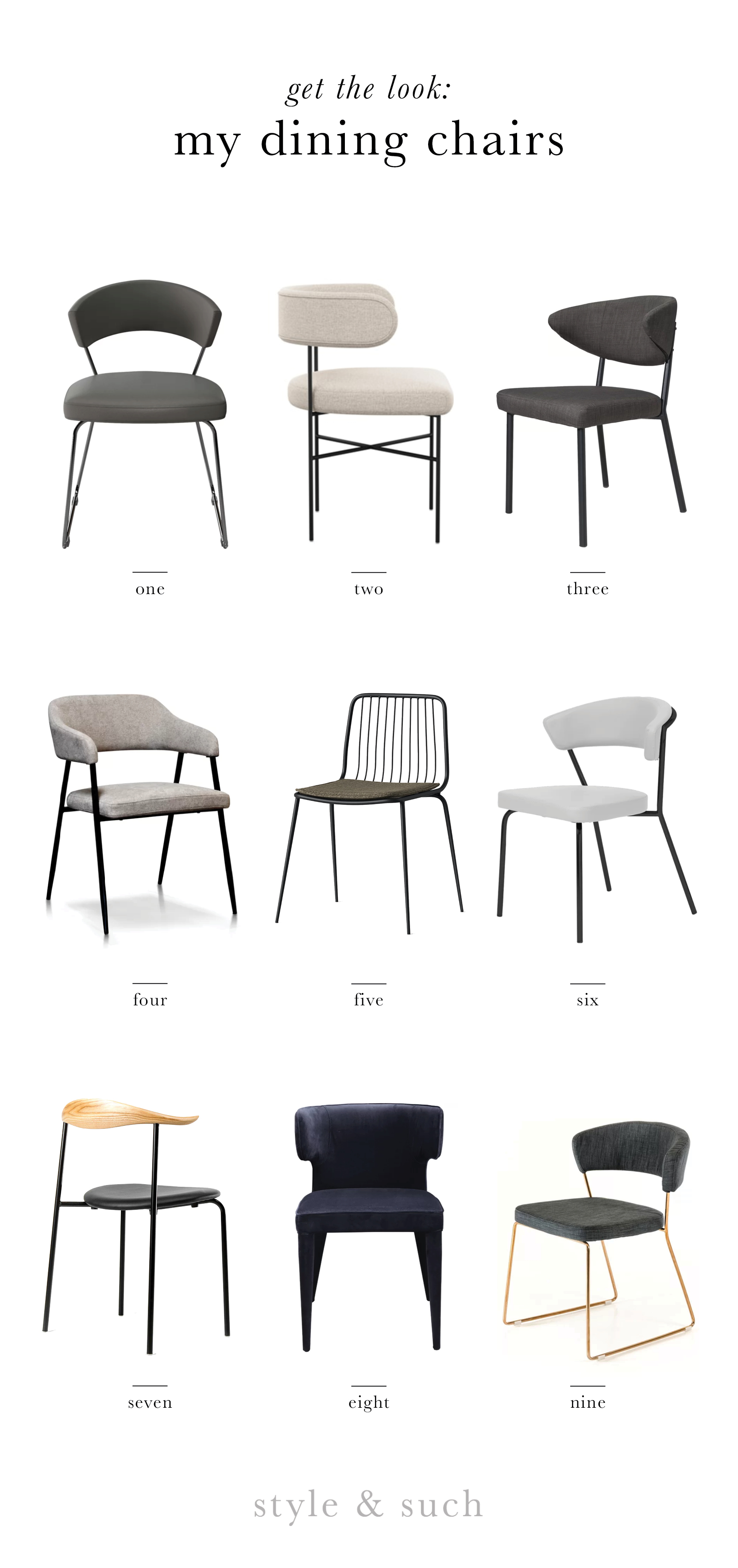 1.  Gainsborough Dining Chair  | 2.  Audrey Dining Chair  | 3.  Felicia Dining Chair  | 4.  Tyshawn Dining Chair   | 5.  Sondra Square Dining Chair  | 6.  Viviana Dining Chair  | 7.  CH88 Dining Chair   | 8.  Kartik Dining Chair  | 9.  Lipscomb Dining Chair