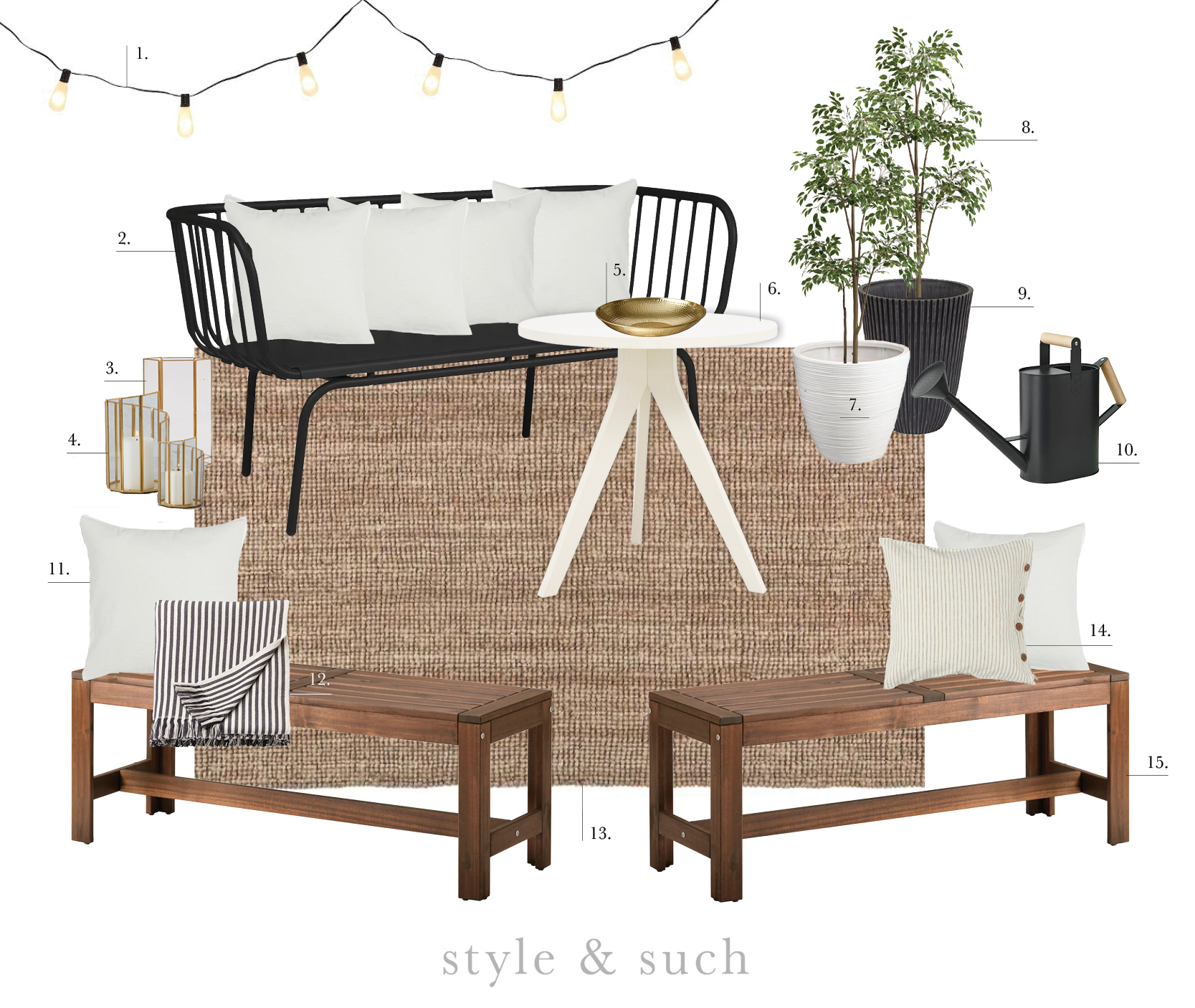 1.  Market String Lights  | 2.  Metal Bench (originally red but I am going to spray paint it!)  | 3.  Faro Candleholder  | 4.  Tamara Set of 2 Candleholders  | 5.  Gold Bowl  | 6.  Tripod Table  | 7.  White Rattan Plant Pot  | 8.  Artificial Tree  | 9.  Textured Garden Pot  | 10.  Watering Can  | 11.  Natural Cushion Cover (all white pillows shown are this one)  | 12.  Striped Throw  | 13.  Lohals Jute Rug  | 14.  Linen Cushion Cover  | 15.  Wooden Benches