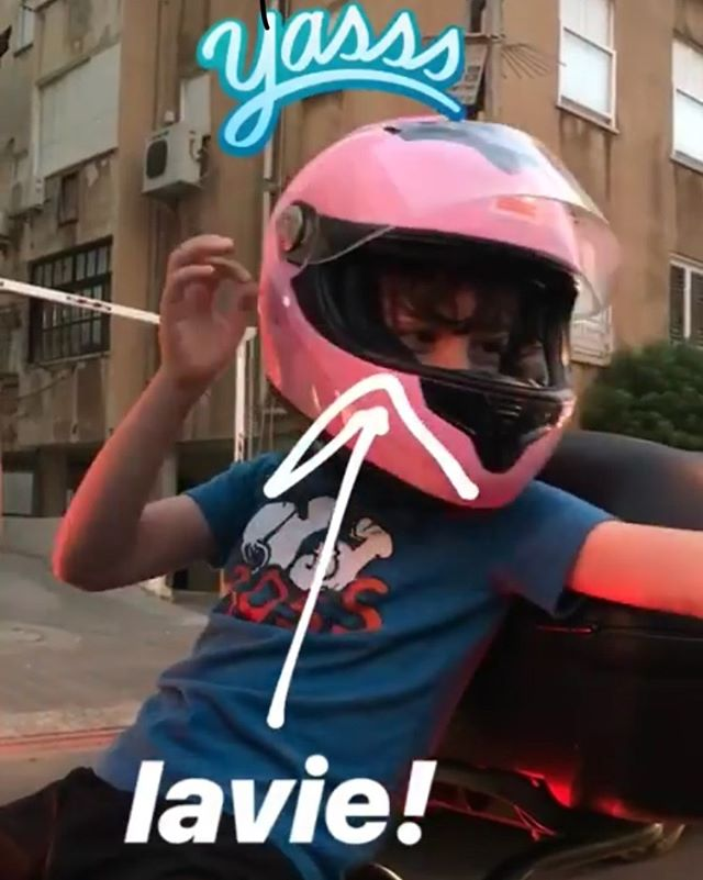 riding on the back of the scooter with his aunt. #telaviv lavie #notscared but i am! 😱