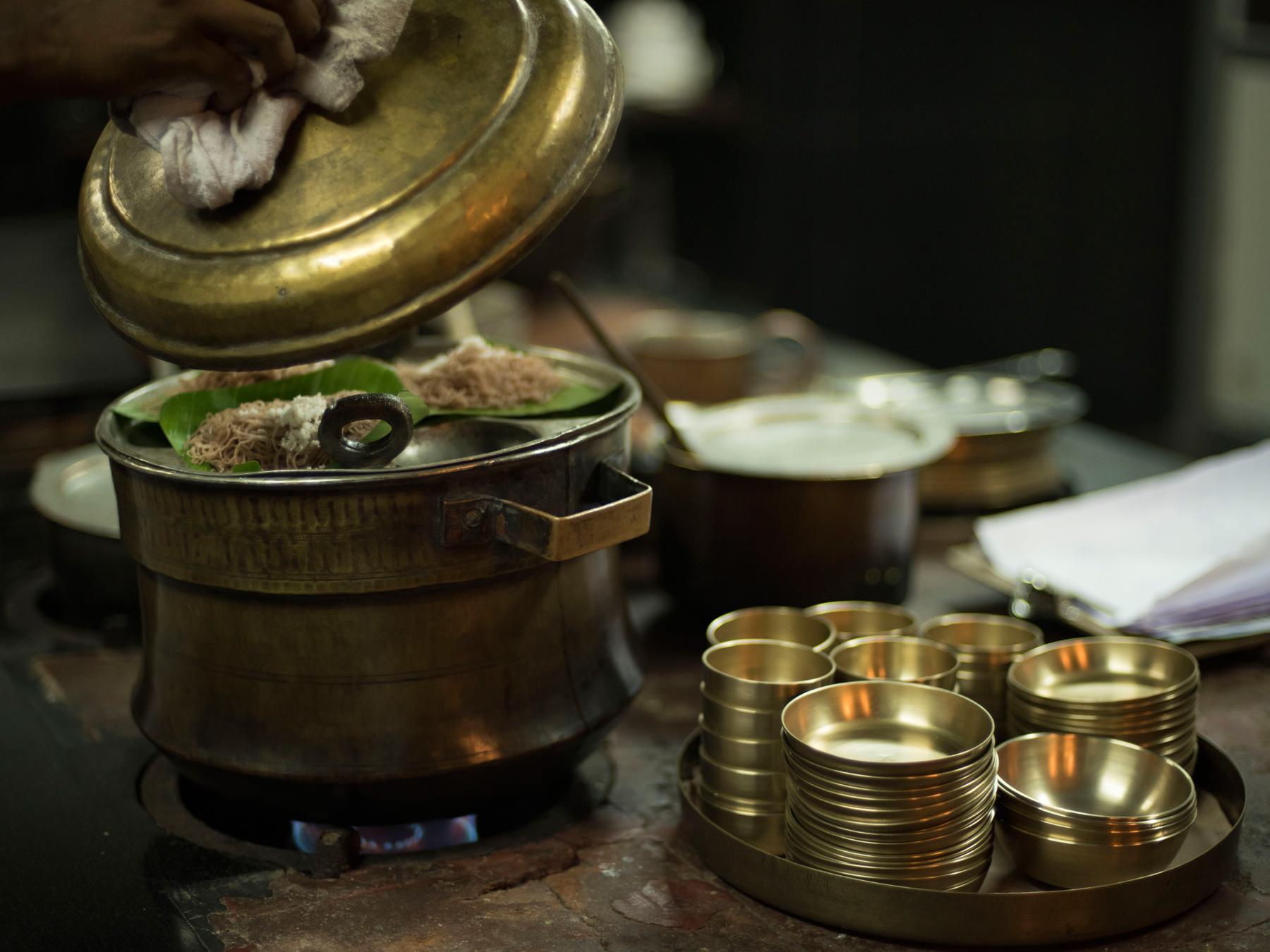 Food being cooked at a Panchakarma retreat.