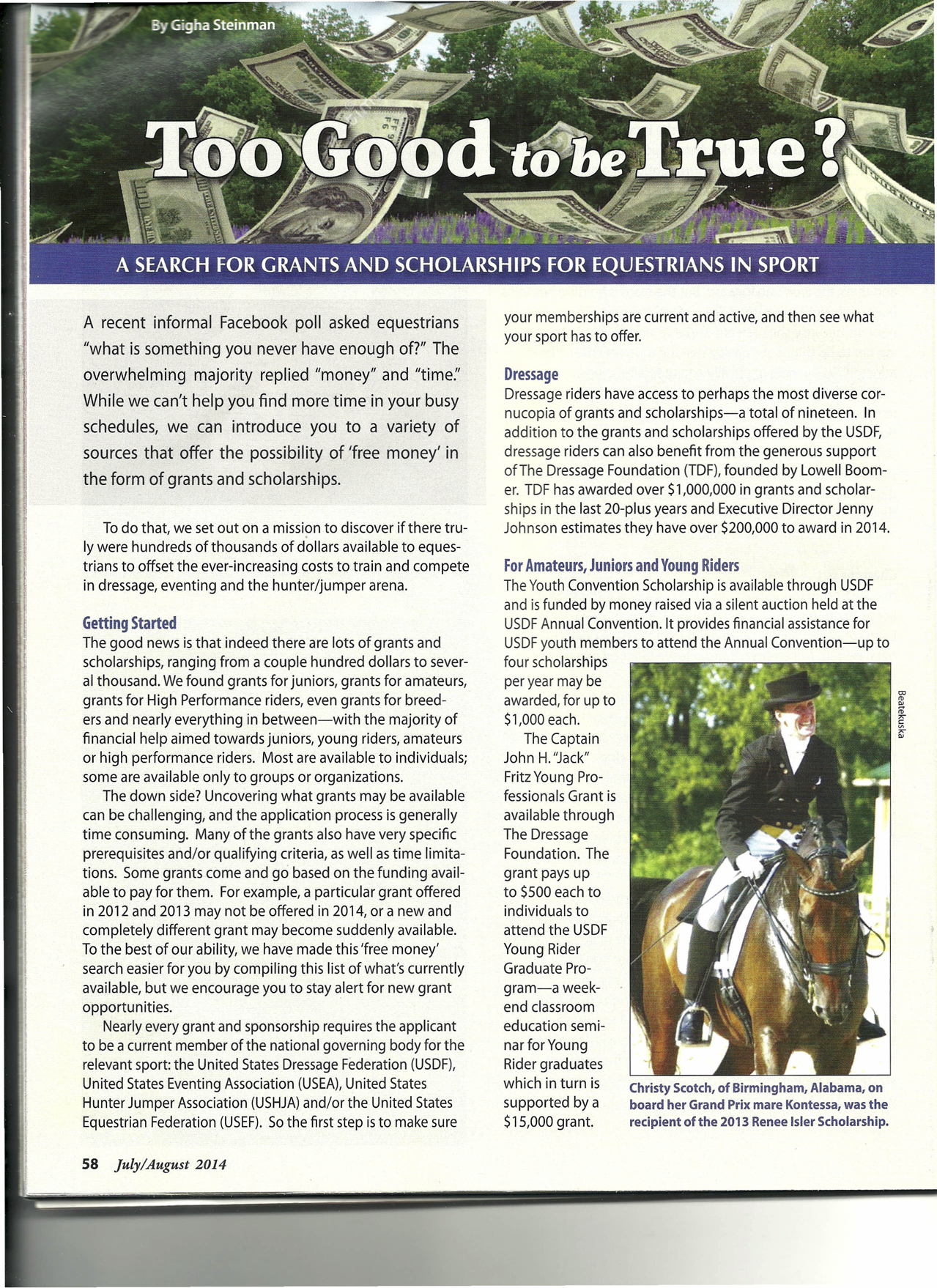 Featured in Warmbloods Today 2014