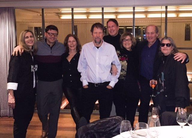 With my very best friends (but missing David Sless): Dori, Davey, Jane, Dave, Amy, Jim, and Bobbi at restaurant Eleven Madison Park in New York City after seeing  Hamilton,  2016