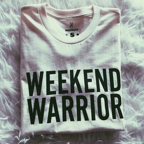 Okay, I'm getting this shirt because it's badass and I'm diving into my first #websiteinaweekend project and need to be reminded that being a #weekendwarrior is pretty badass. ⁣ ⁣⁣ ⁣Also, I'm getting this shirt because I'm obsessed with @redwolfpdx and their mission.