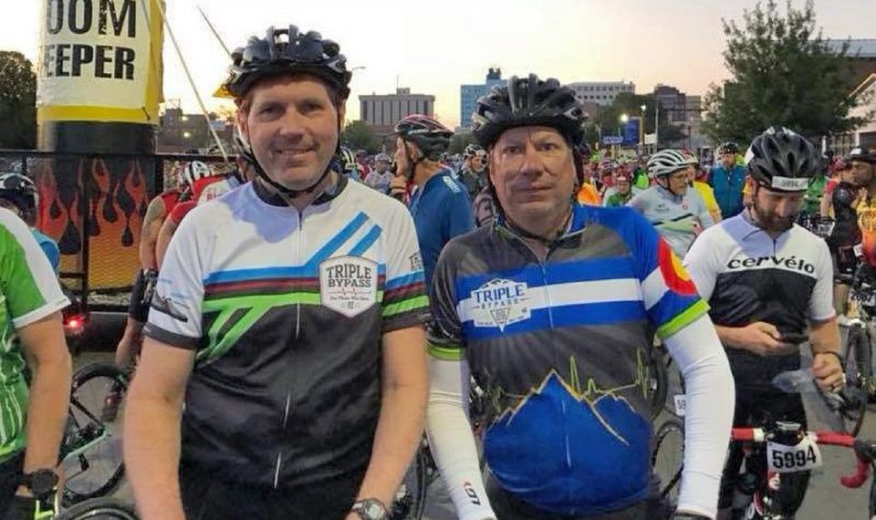 Chip Minty, left, is pictured with his friend, Gary Miller, before the Hotter'N Hell Hundred began.