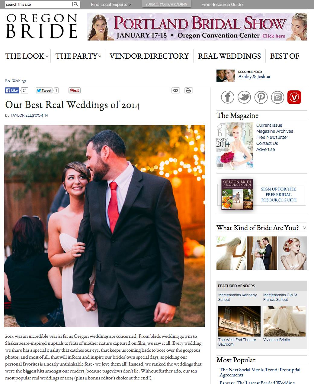 Leah Flores 'Best Real Wedding' for Oregon Bride