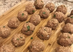 7. Roll meatball mixture into 1.5 inch round balls