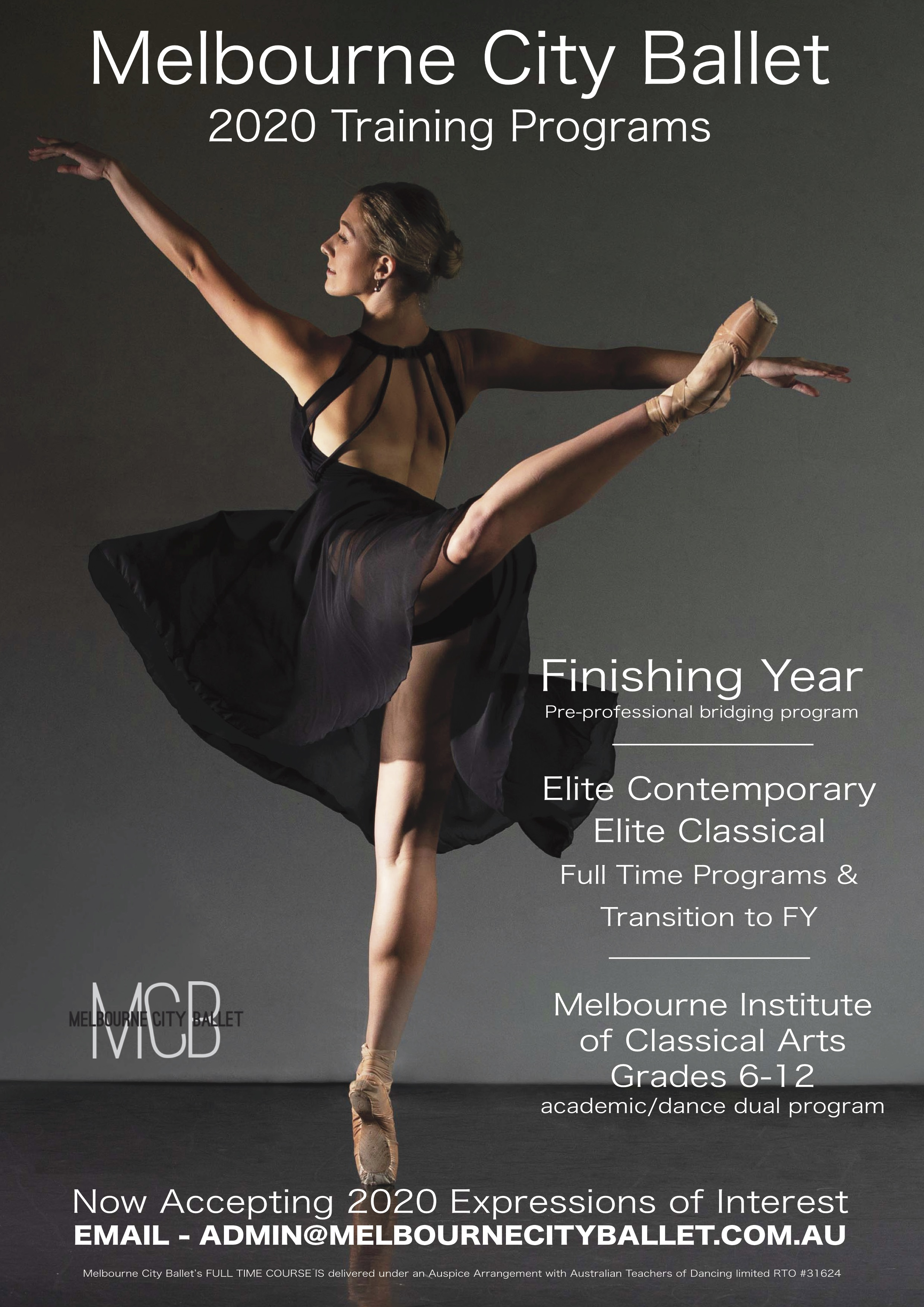 Looking to train or work in a challenging, supportive and healthy studio environment?   Auditions for Melbourne City Ballet's professional artist positions and training programs for 2020 have now opened. Come join us for what is set to be an exciting year in 2020 being guided by the company's Senior Staff members.   Positions will be available for the following:   Company Artist  Emerging Artist (Apprentice/Intern Program) - Classical  Finishing Year Artist (Pre-Professional Bridging Program) - Classical  Elite Artist Program (Full Time and Transition) in Classical, Contemporary and Musical Theatre Streaming  MICA - Melbourne Institute of Classical Arts (High School & Ballet program) Classical, Contemporary and Musical Theatre Streaming    Auditions will take place as follows:  MICA first round - 7th September 2019 (Melbourne)  MICA second round - 2nd of November 2019 (Melbourne)  FY, Emerging Artist, Elite Artist and Company - 21st September 2019 (Melbourne)  FY, Emerging Artist, Elite Artist, MICA and Company - 5th October 2019 (Sydney)  FY, Emerging Artist, Elite Artist, MICA and Company - 20th October 2019 (Brisbane)