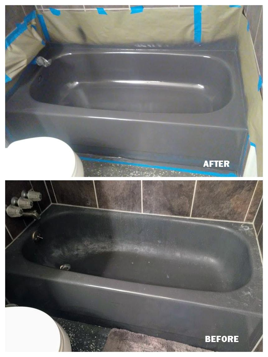 Grey Bathtub Resurfacing