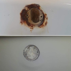 This looks pretty bad but is actually a fairly easy repair. From a small chip down to the metal to a large rusted area, we can repair and transform just about any tub you have.