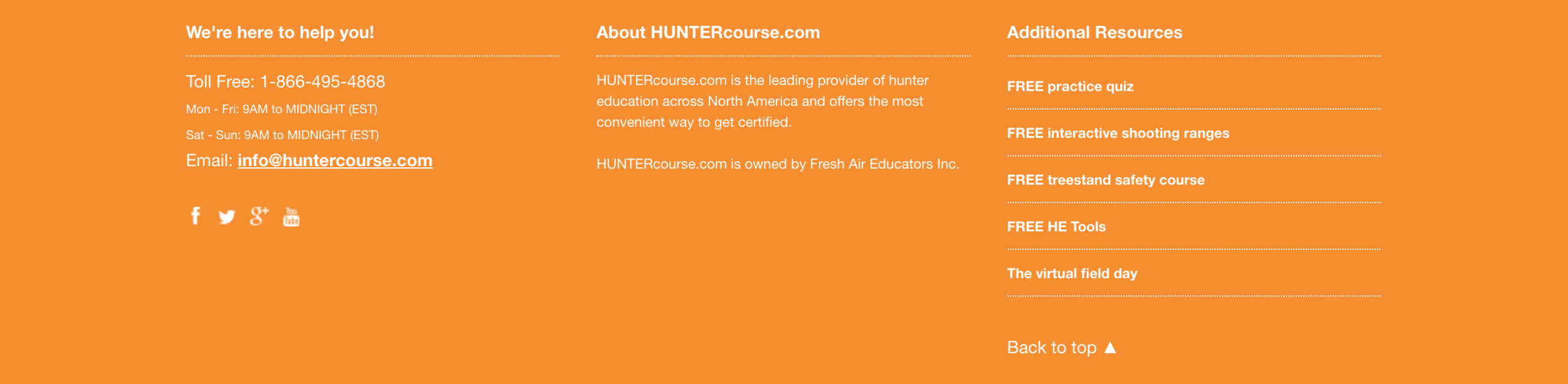 Resource page on huntercourse.com near the bottom of the website
