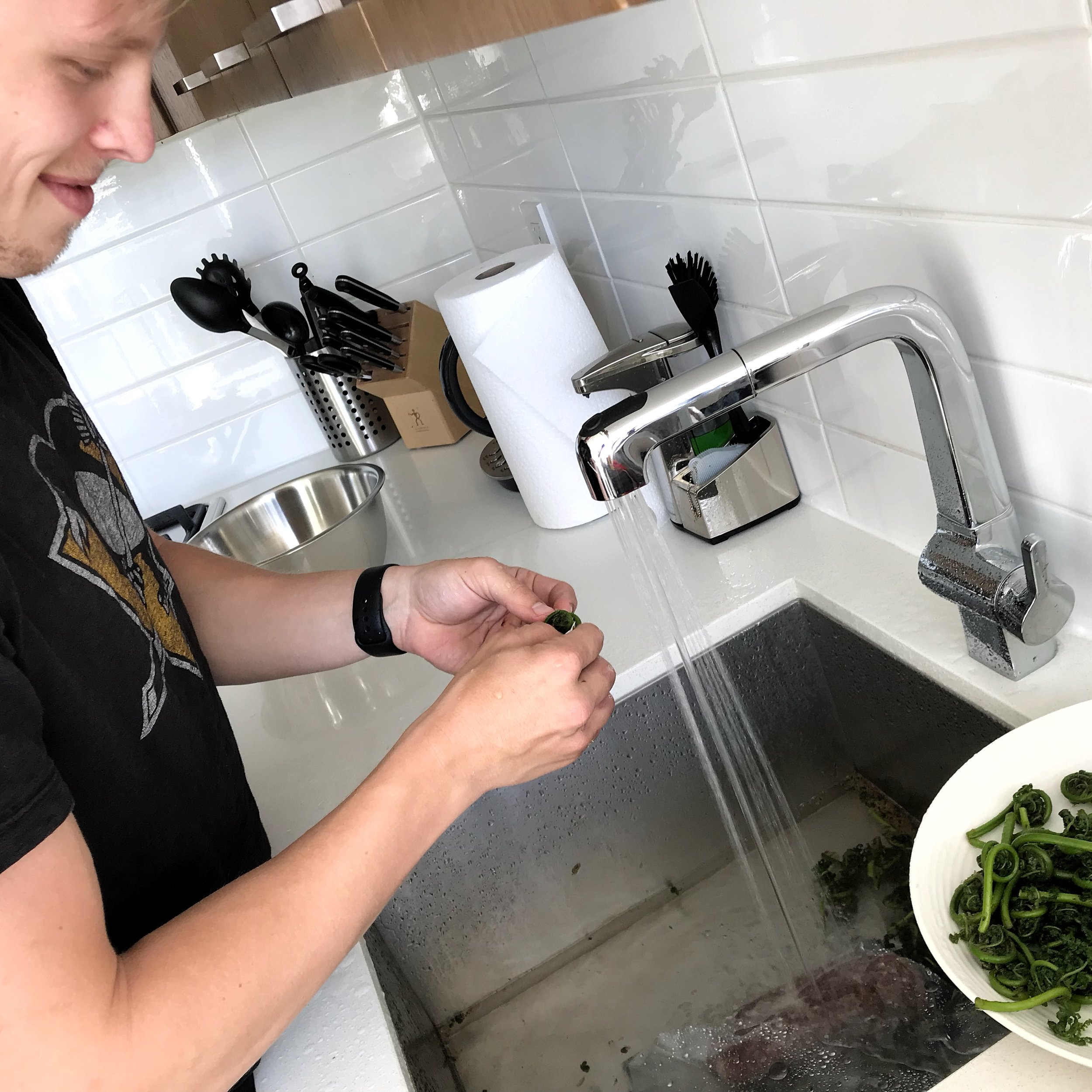 Discovering how hard it is to clean Fiddleheads