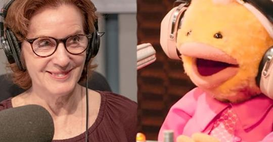 """As It Happens"" host Carol Off (left) beside ""As It Flappens"" host Chickelyna (right)."