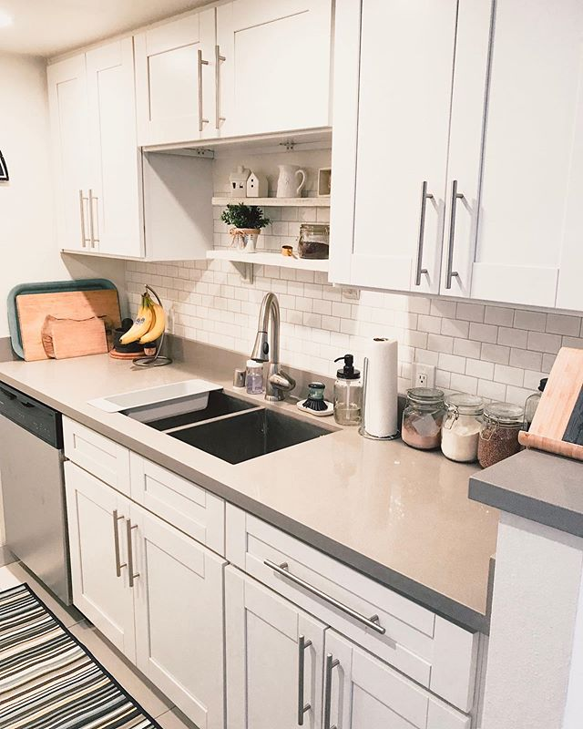 My kitchen #makeover ✨ When we moved to our new apartment the kitchen was good but it had no character. Since lately I've been into #modernfarmhouse style, I decided to decorate my kitchen as such. ✨ I also had to paint our fridge and tile the backsplash with sticky tiles - we are renting, so real tile was not an option. ✨ I'm pretty happy with how it turned out! The whole process with before pictures is in my latest YouTube video- link in bio ✨ • • • • #kitchenmakeover #diy #stickytiles #roommakeover #showmeyourkitchen #farmhousestyle #modernfarmhousestyle #farmhousedecor