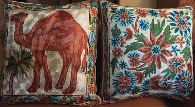 Embroidered pillows from Ladakh