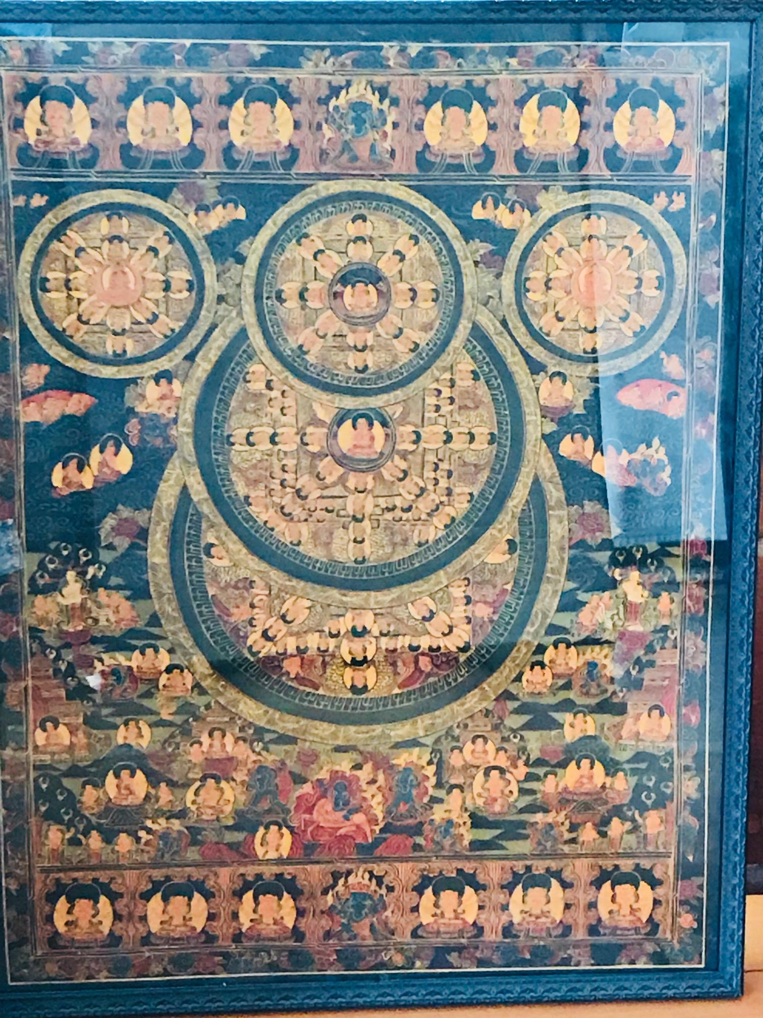 Mandala painting with five circles, framed
