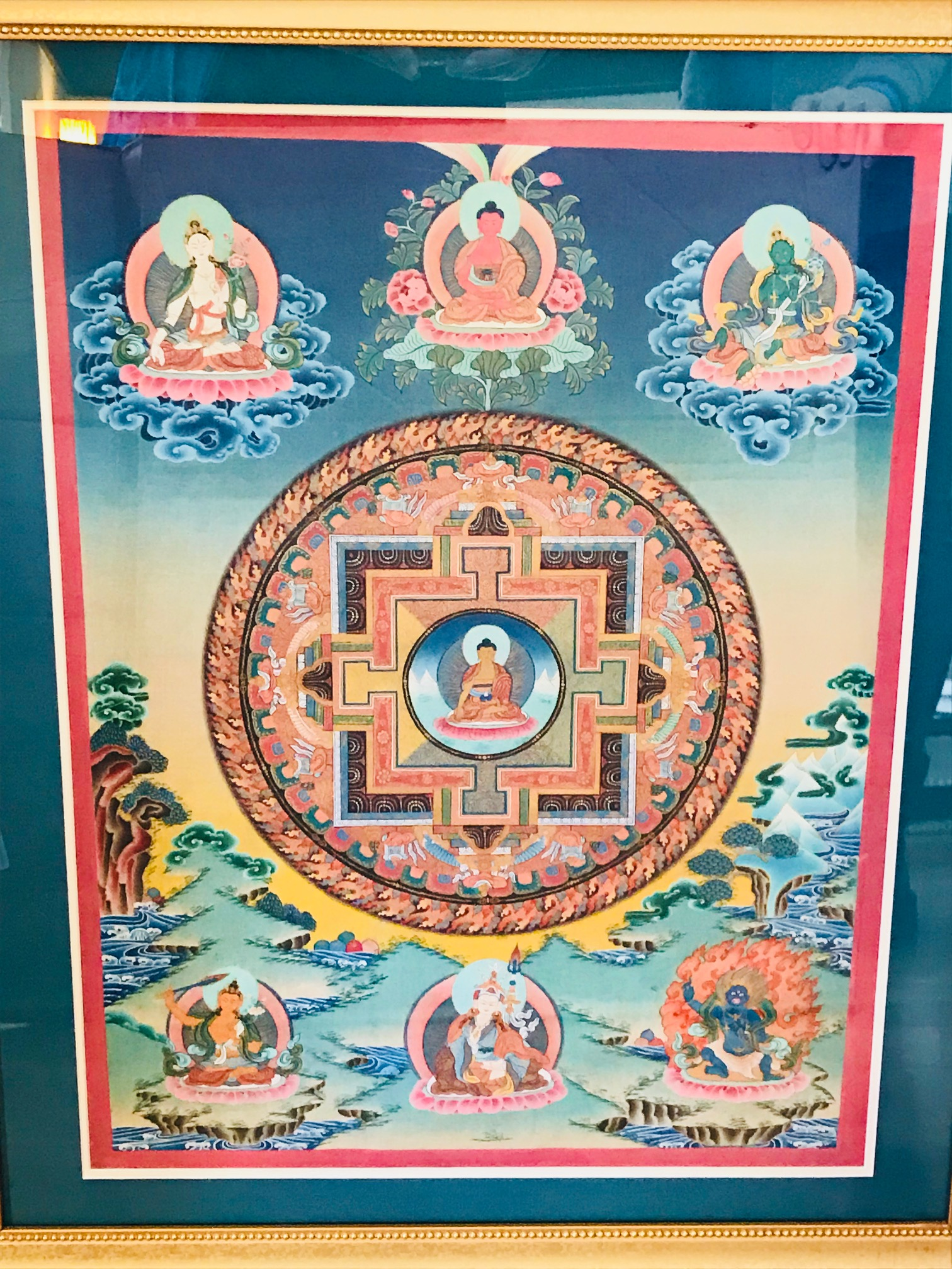 Mandala painting with beautiful colors, framed