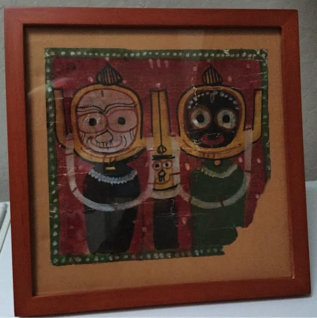 Remnant from old Tibetan painting, 7' x 8', framed