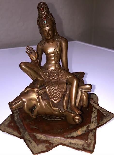 "Bronze Buddha, 5"" tall"