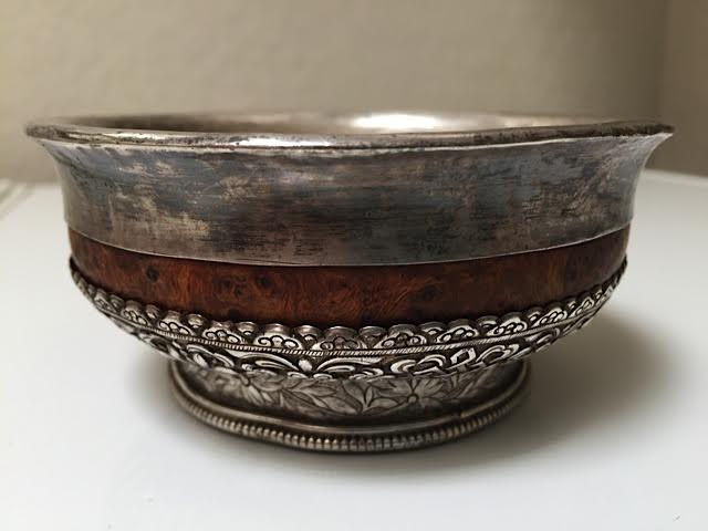 Silver and burl wood offering bowl