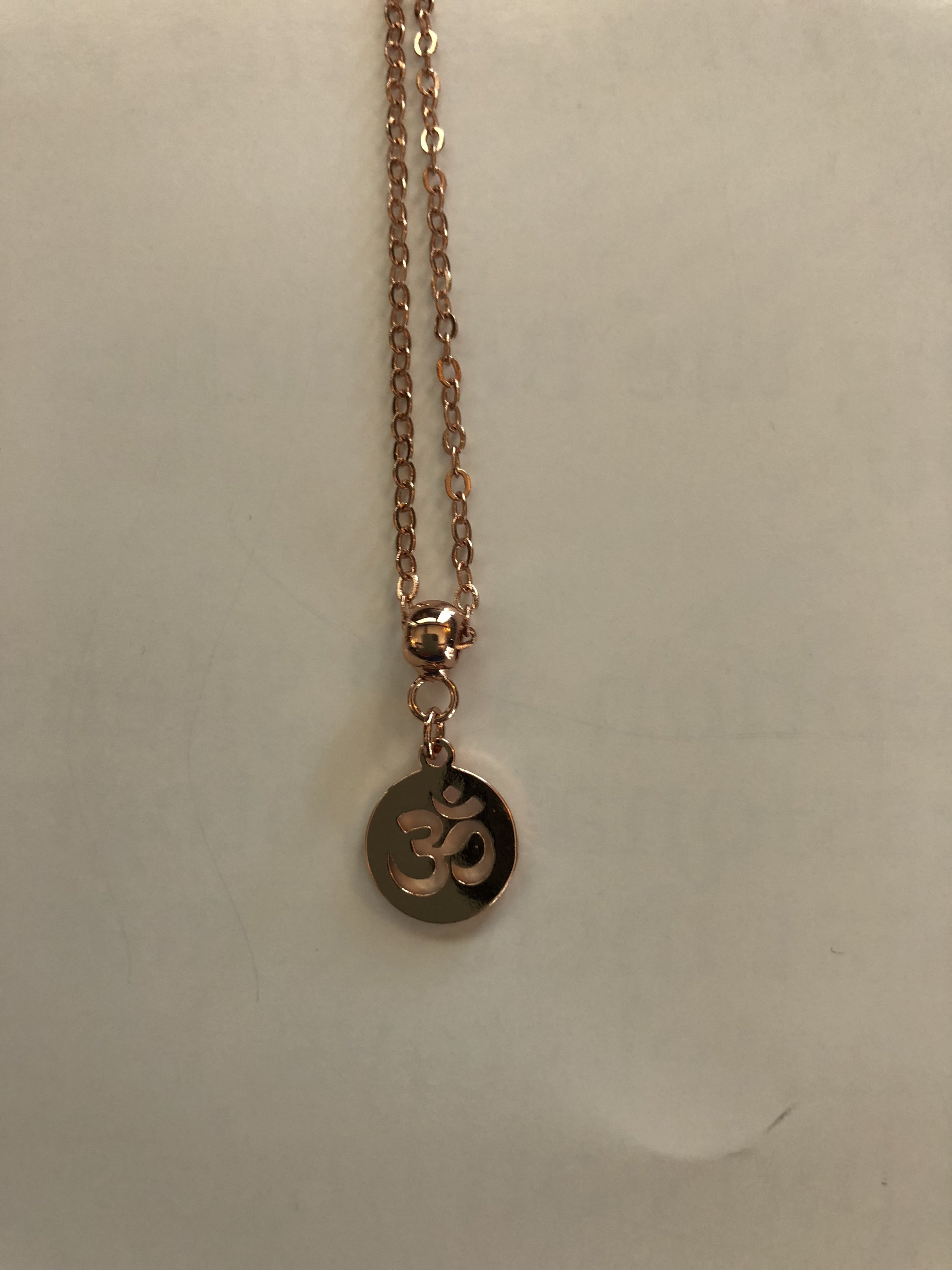 Om rose necklace, gold plated