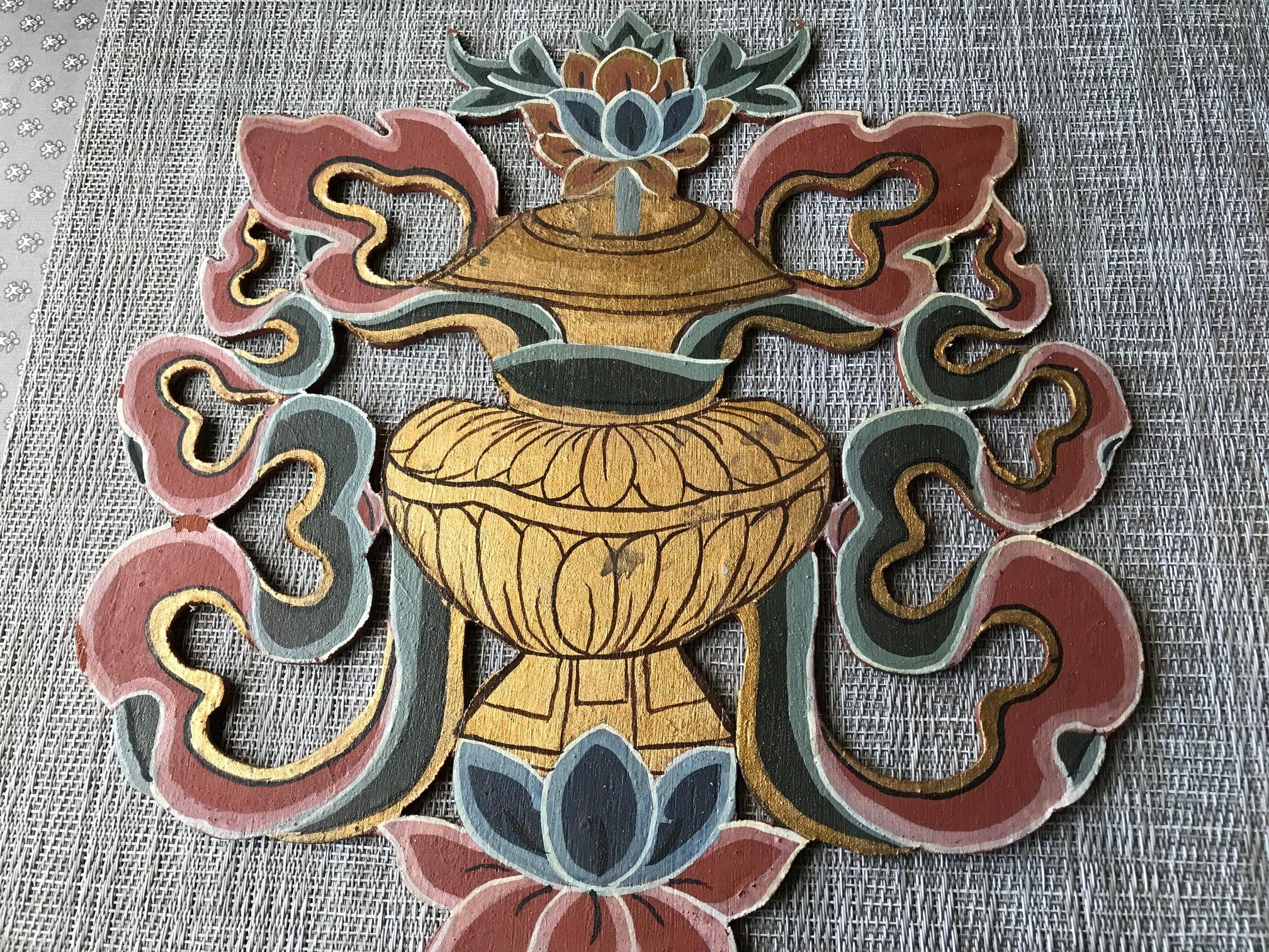 Wooden door hanging, lotus flower with ern