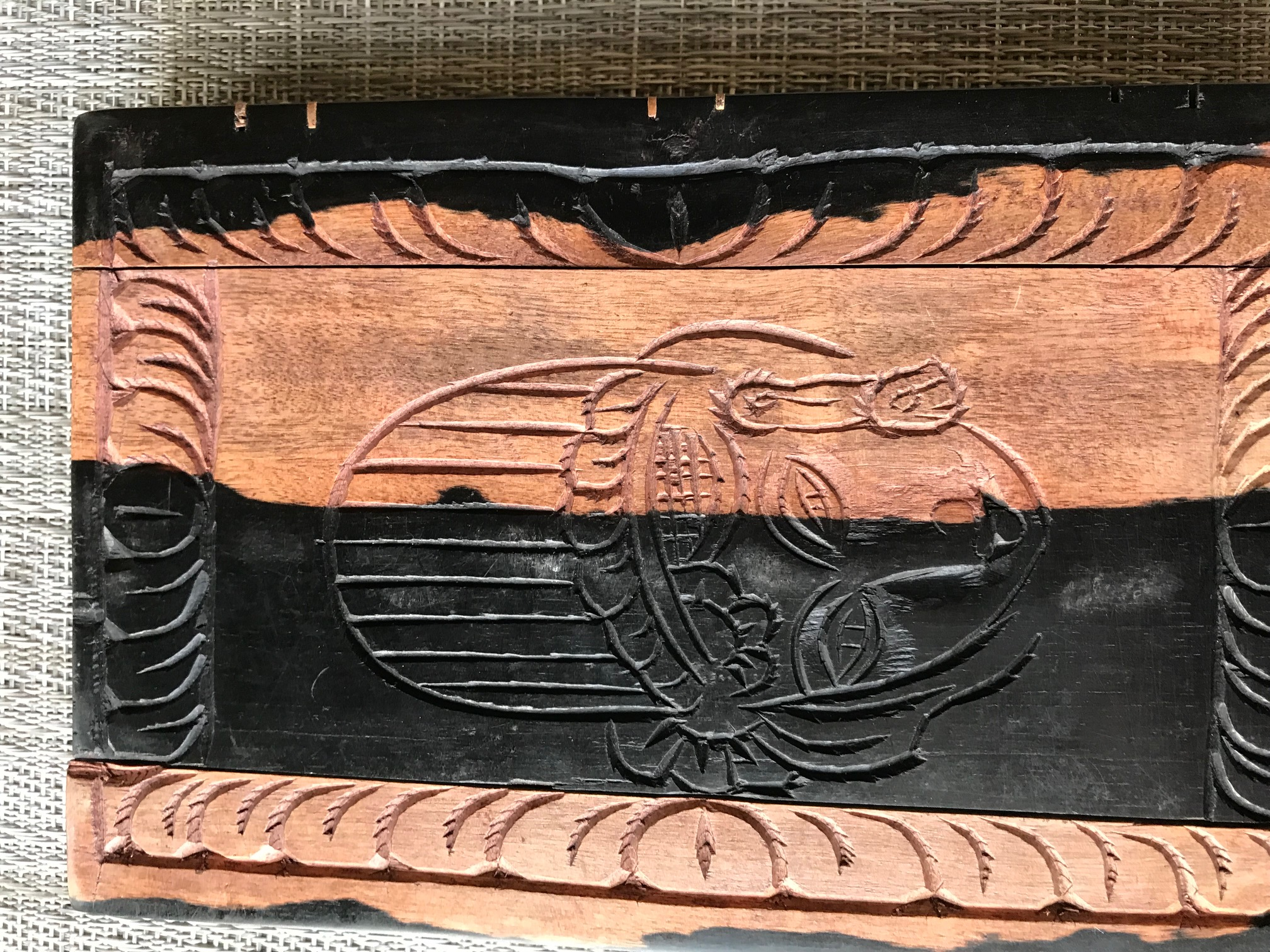 Carved wooden block, 2