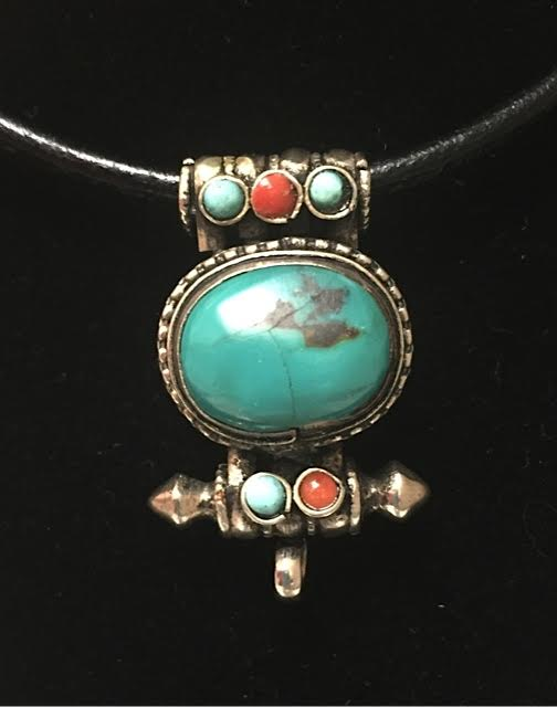 Tibetan pendant with turquoise and coral