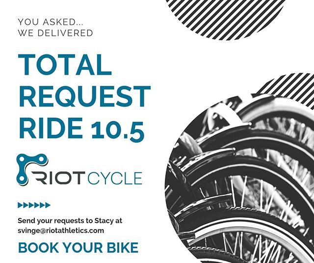 There's a few spots left for Saturday's Total Request Ride with @stacyvinge! What do you want to hear? #bookyourbike #riotseattle #indoorcycling #saturdayplans