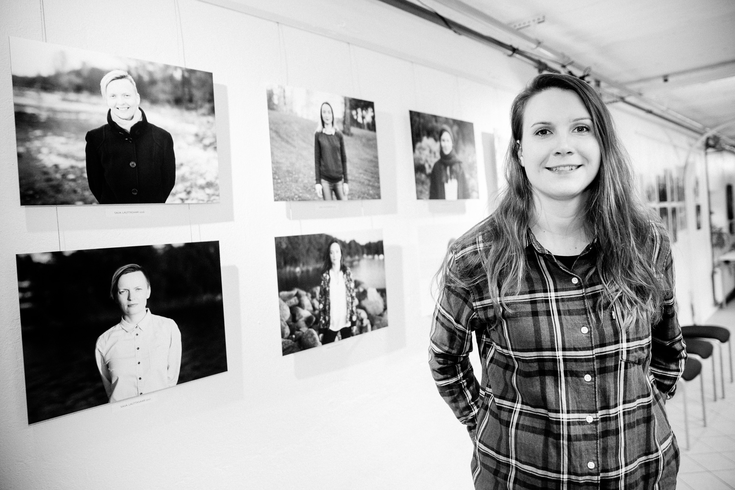 Elina Engberg herself with her artworks