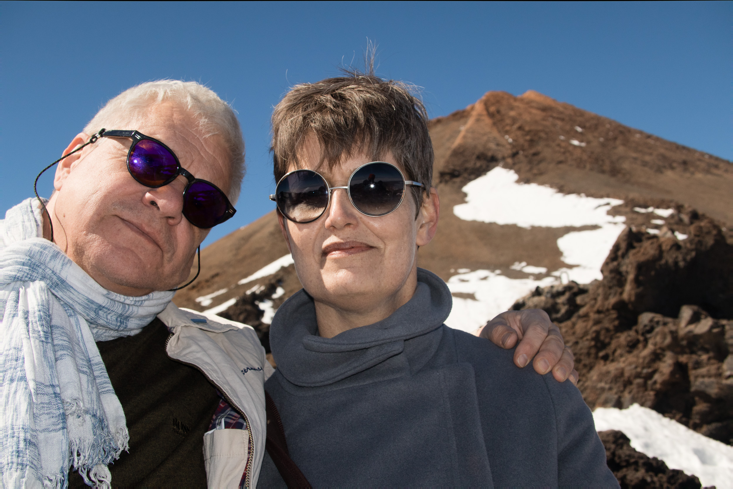 The built in flash was not only used by night but it also to take away shadows from the face on daylight portraits. Here we are at 3500 m of altitude, with the top of Teide mountain on the background.