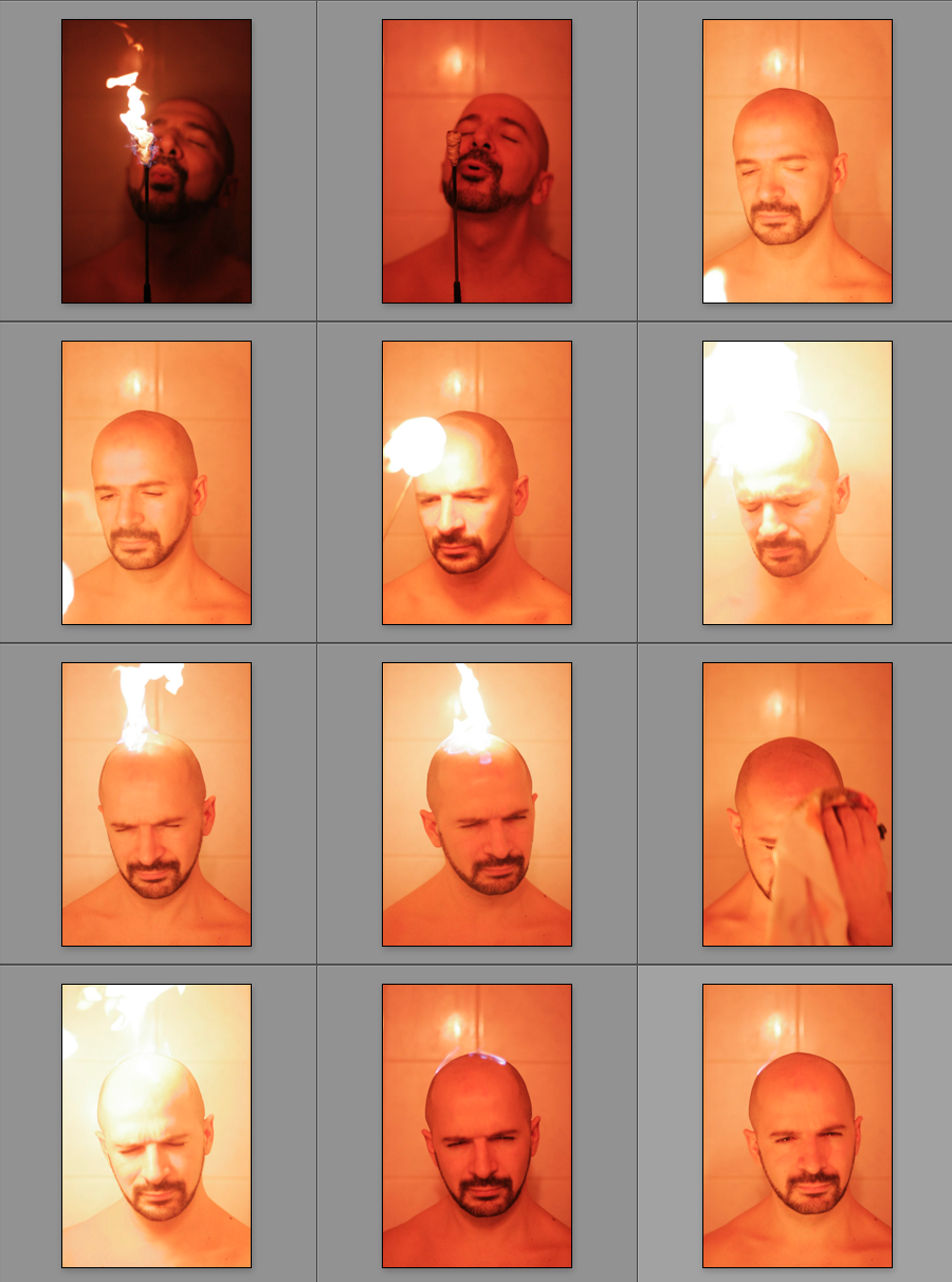 - The shoot process was like this. Turn on the fire on my head, turn it off, repeat.