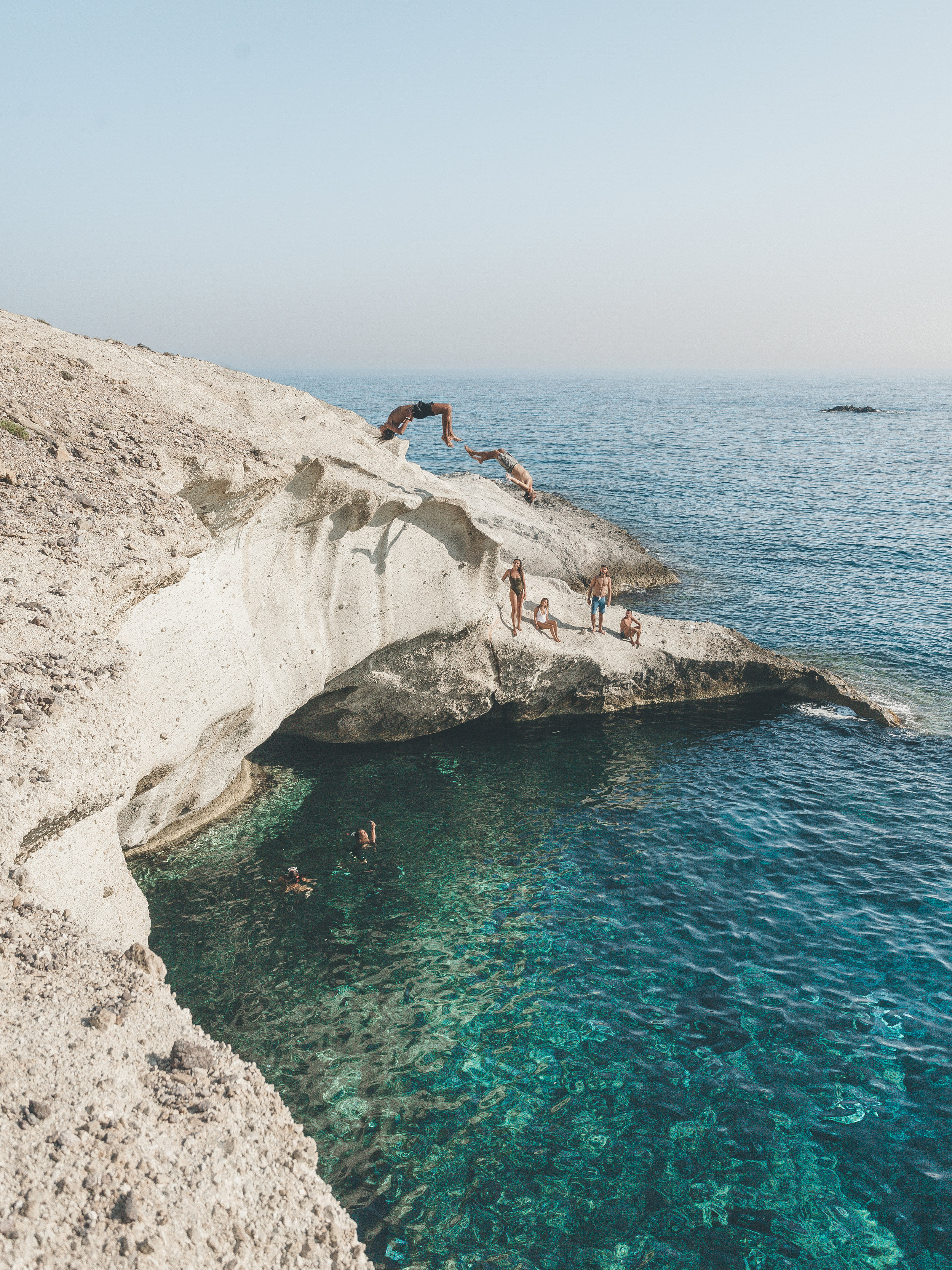 This is the cliff jump that looks like Milos. Show this picture to the skipper at the port on Paros, worth the boat trip for a hang out here for sure!  Anti-Paros, July '17.
