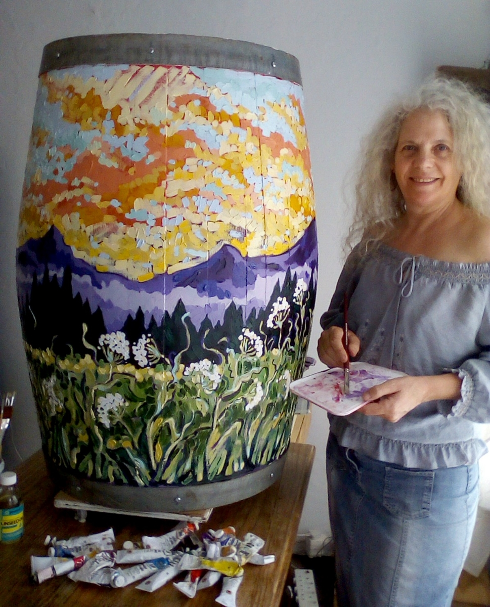 AVAILABLE Lightcatcher - Oil painting on wine barrel... Price on request.