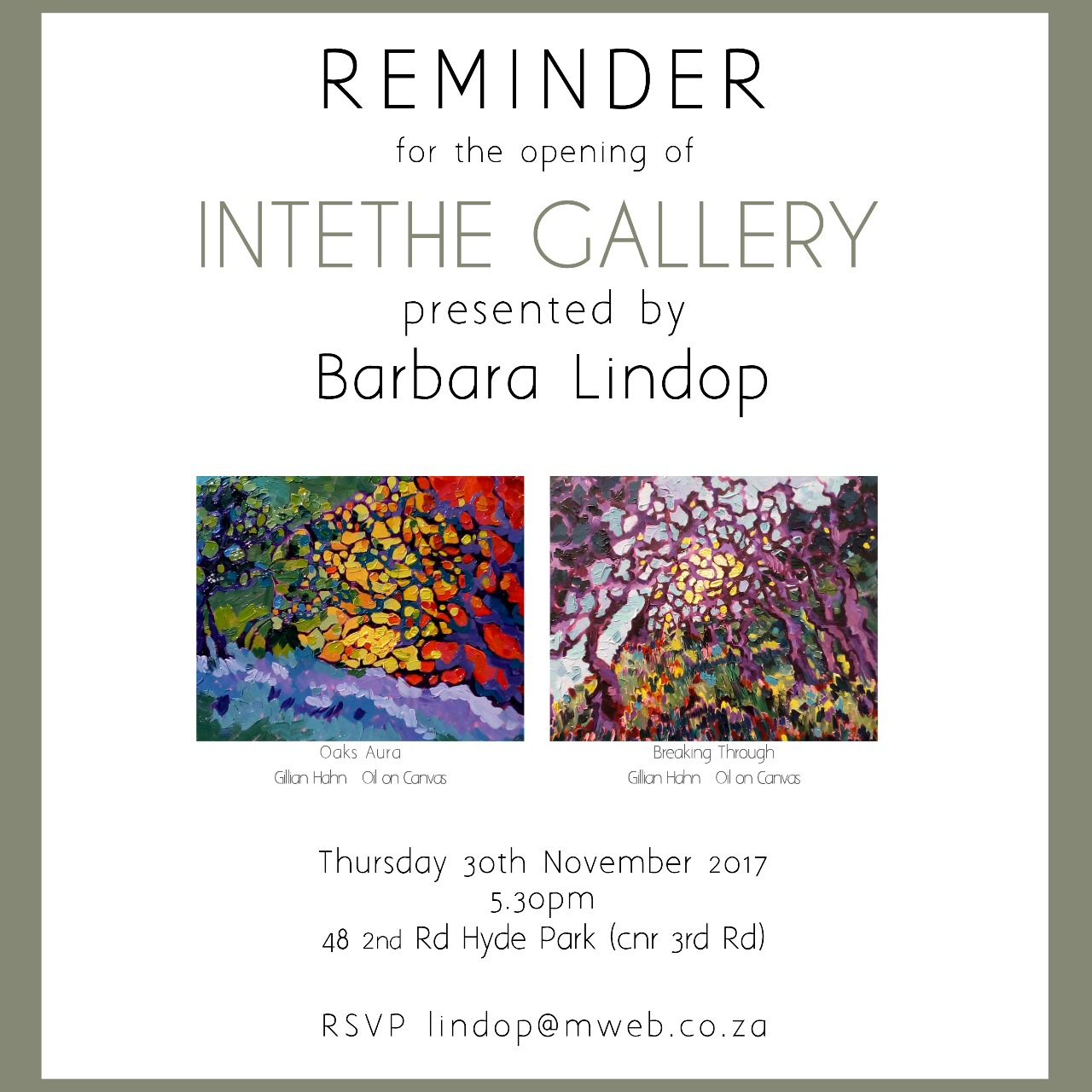 2017 - Group exhibition at Barbara Lindops Gallery Intethe in Johannesburg