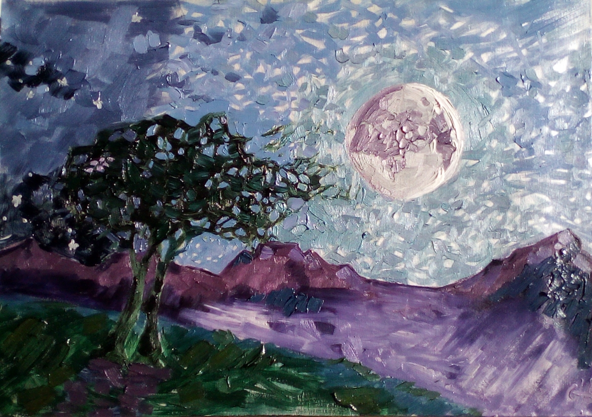 SOLD - Meeting under the moon.