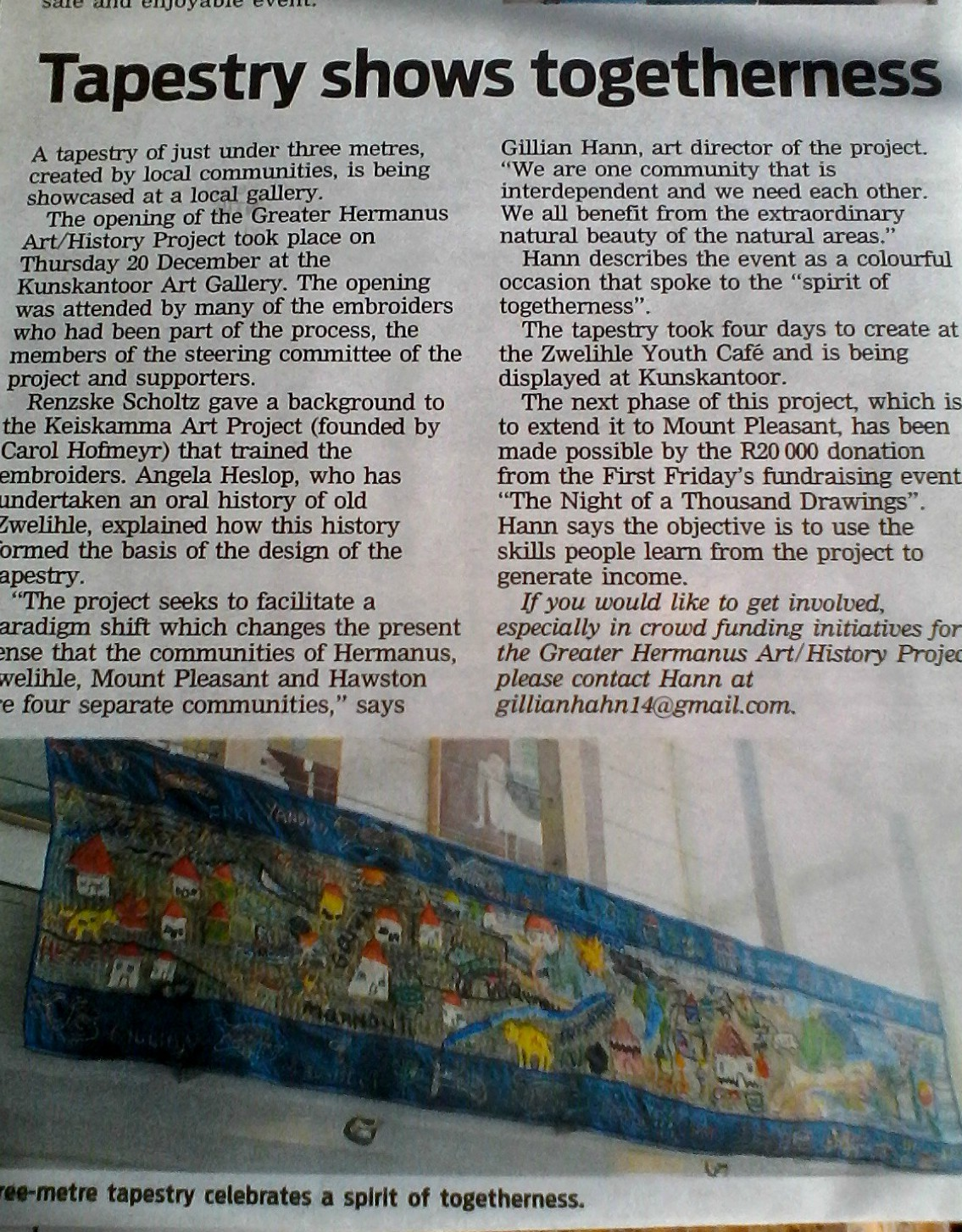2018 - Launching our ' Living tapestry project'   https://www.kunskantoor.com/   https://www.netwerk24.com/za/hermanus-times