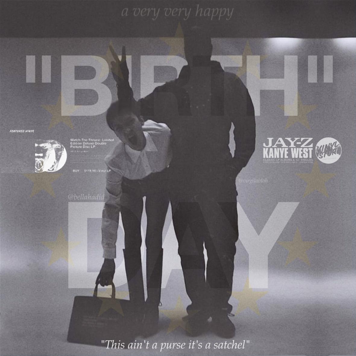"virgil + bella hadid ""BDAY"" collage"