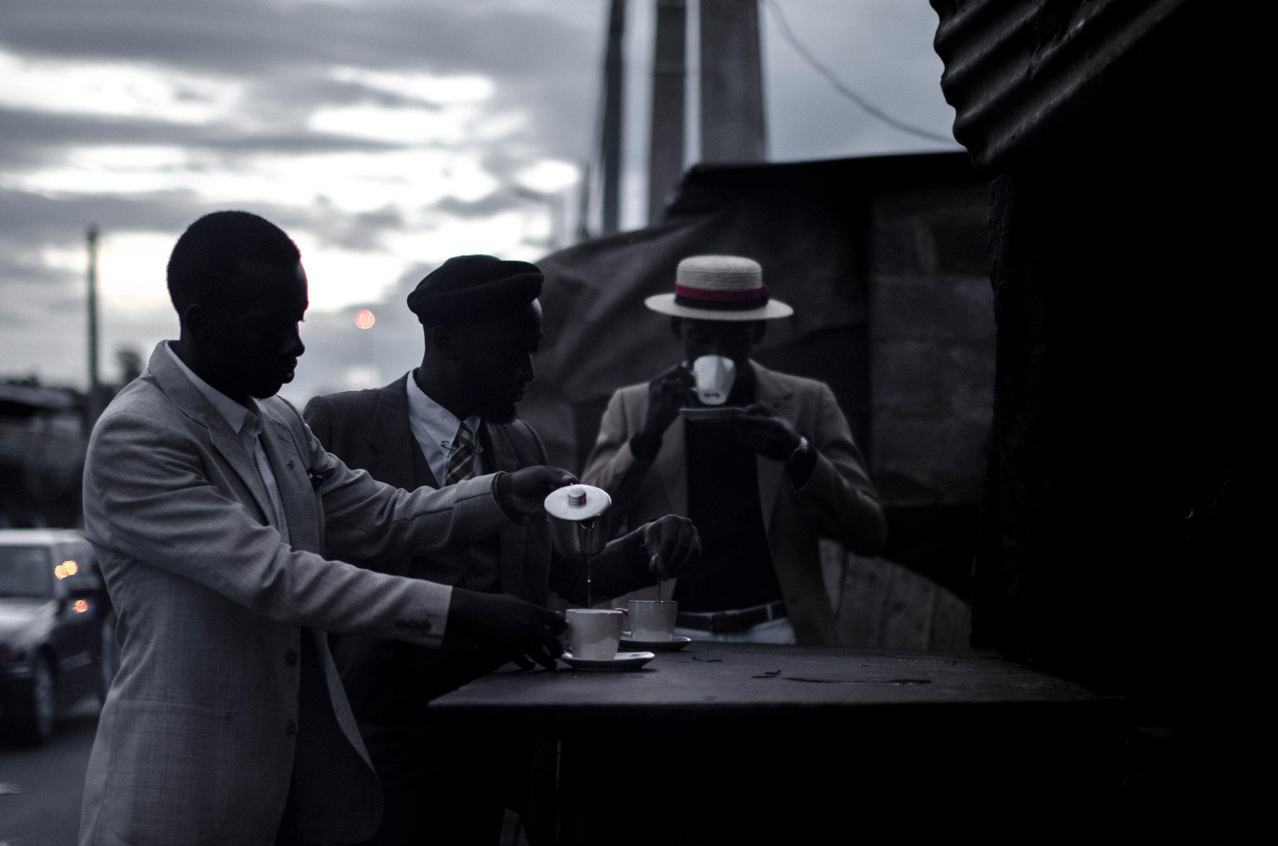 H.Hamese, David Maledimo, Lourens Gebhard and Bafana Mthembu – The three stages of preparing tea, 2014.jpg