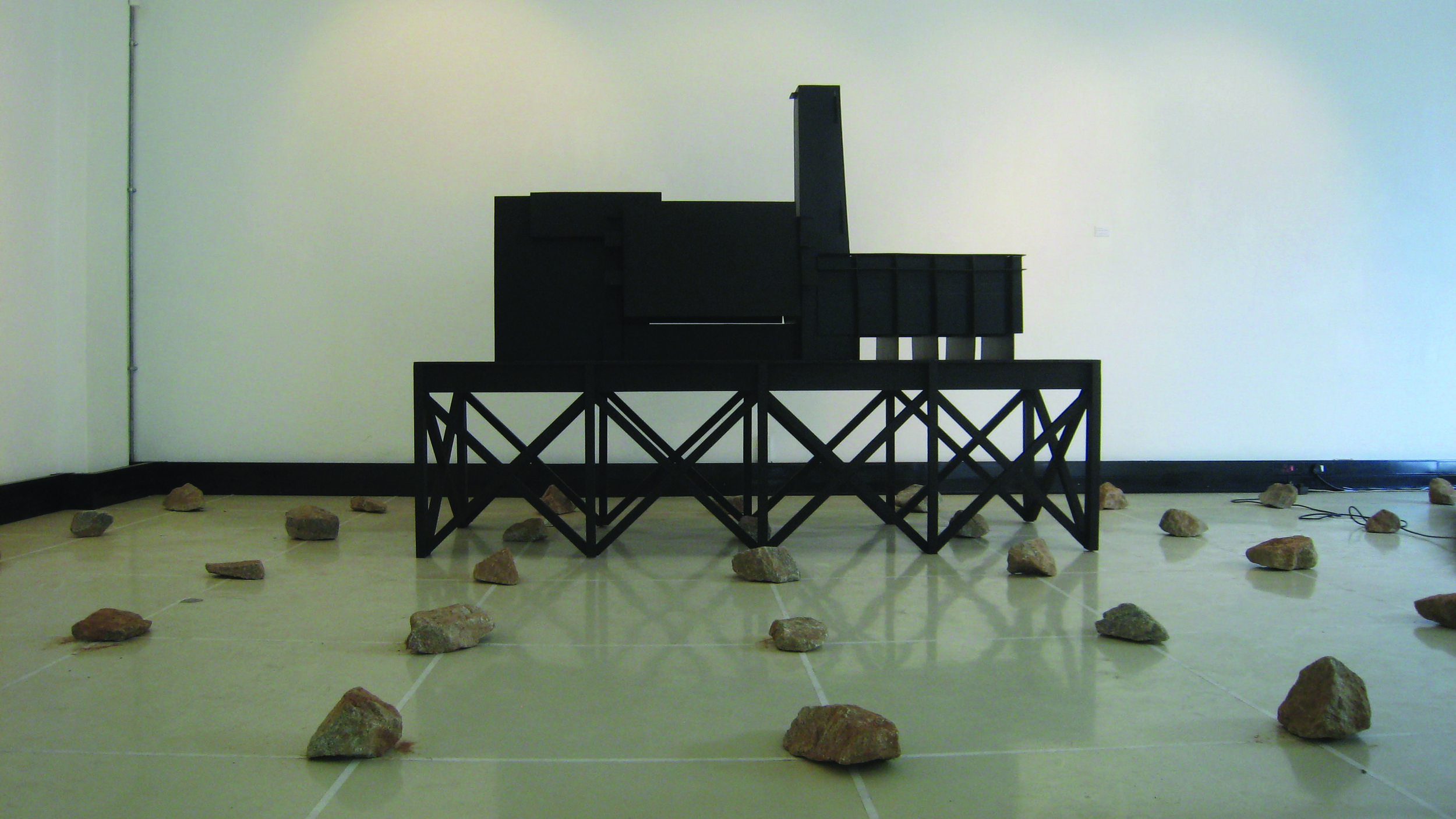Phillip Raiford Johnson__Blackhouse-Thoughts about a machine_ 2009_corrugated plastic and wood (2).jpg