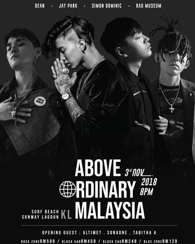 [Above Ordinary Malaysia - Cancellation] - We are sorry to inform you that Jay Park and Simon Dominic's appearance for Above Ordinary Malaysia has been canceled due to the delay of the guarantee, visa problem, flight not being confirmed until the day before the departure, and more issues from Promoter and Agency. We apologize to many of our fans who have been waiting for and hope there is no damaged by this. - 이번 박재범, 사이먼 도미닉 출연 예정이었던 어보브 오디나리 말레이시아 공연은 출연료 지급일 경과 및 미지급, 비자 문제, 출발 전일까지도 항공권이 확정되지 않는 등 프로모터와 에이전시로 인한 여러 문제들로 인하여 부득이하게 해당 아티스트들의 출연이 취소되었습니다. 저희를 기다려주신 많은 분들께 사과의 말씀을 드리오며, 이로인한 피해가 없었으면 합니다. -